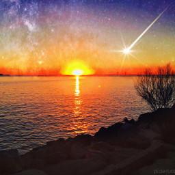 sunset fallingstar evening water ocean dpchorizon