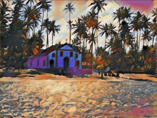 magicaleffect madewithpicsart church palmtrees sea