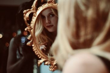 portrait woman girl longhair reflection