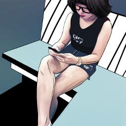 drawing outline edit girl blue freetoedit