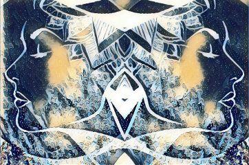 wonderland collage zentangle mirror