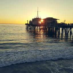 beach peer santamonica sunset ocean
