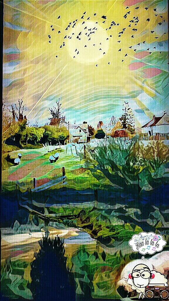 PicsArt Daily Remix Challenge ~  #SheepThrillsRemix #Sheep #BoomBox #Music     #Pastures #FarmHouses #Humor #Missgenie #Pixlr #ZenPhoto