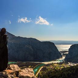 canyon river statue landscape