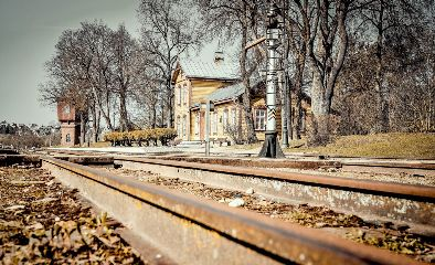 station retro railway track trees